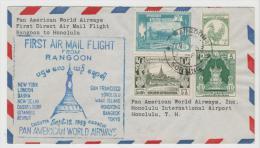 Bur029 / / Myanmar -  -  Erstflug Rangoon - Honolulu. T.H. 1953 - Myanmar (Burma 1948-...)