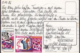 Tunisia CPA MONASTIR 1986 To LANZEN Germany (2 Scans) - Tunisia (1956-...)