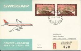RF 71.10 U, Swissair, Genève - Karachi, Recommandé, DC-8 - Pakistan