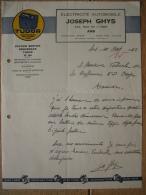 Lettre 1942 ANS - H. GELEN - JOSEPH GHYS - Electricité Automobile - Station Service TUDOR - Publicité TUDOR - Belgique