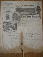 Lettre Superbement  Illustrée 1896 - BRUXELLES - Aux Caves De Munich, Café Trois Suisses, Dépôt Brasserie Zum Löwenbräu - Belgium