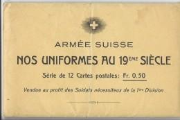 14259 - Armée Suisse Nos Uniformes Au 19eme Siècle Série De 12 Cartes Dans Enveloppe D'origine - Altri
