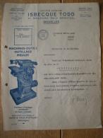 Lettre 1943 BRUXELLES - ISBECQUE TODD - Machines-outils, Outillage, Meules... - Belgio