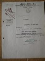 """Brief 1939 DEURNE - USINES """"SANA"""" - Fourrages Et Aliments Composés - Pays-Bas"""