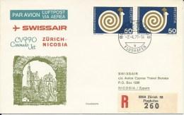 RF 71.9, Swissair, Zurich - Nicosie, Coronado, Recommandé - Cyprus (Republic)