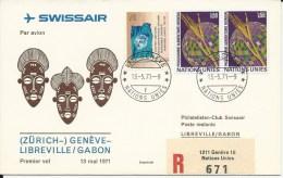 RF 71.16 U, Swissair, Genève - Libreville, Coronado, Recommandé - Gabon (1960-...)