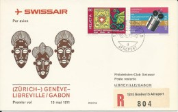 RF 71.16, Swissair, Genève - Libreville,Coronado, Recommandé - Gabon (1960-...)
