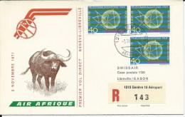 RF 71.23, Air Afrique, Genève - Libreville, DC-8, Recommandé - Gabon (1960-...)