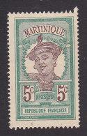 Martinique, Scott #65, Mint No Gum, Martinique Woman, Issued 1908 - Martinique (1886-1947)