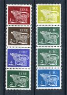 Ireland 1971-80.  8 Definitive Stamps - In 2 Strips - Blocks & Sheetlets