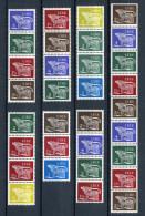 Ireland 1971-80.  32 Definitive Stamps - In 7 Strips - Blocks & Sheetlets