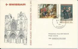 RF 71.24, Swissair, Nicosie - Genève, Jumbo - Lettres & Documents