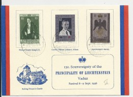 LIECHSTENSTEIN - 1956 - CARTE COMMEMORATIVE Des 150 ANS De La SOUVERAINETE De La PRINCIPAUTE - Briefe U. Dokumente