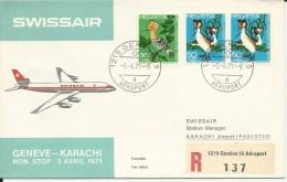 RF 71.10, Swissair, Genève - Karachi, DC-8, Recommandé - Pakistan