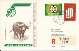 RF 71.23 U, Air Afrique, Genève - Libreville, DC-8, Recommandé - Gabon (1960-...)