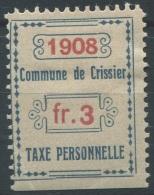 1429 - CRISSIER Fiskalmarke - Fiscaux