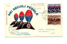 Fb607 - ITALIA FDC 1964  RACCOMANDATA CARABINIERI Con Timbro D´arrivo - FDC