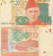 Pakistan P55g, 20 Rupee, Mohammad Ali Jinna / Mound Of The Dead, UNC - Great UV - Pakistan