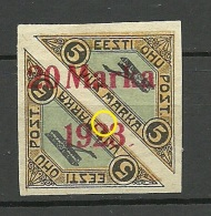 ESTLAND ESTONIA 1923 Michel 44 B A (carmine Red) + OPT ERROR * - Estonia