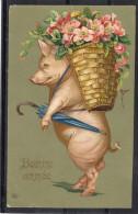 Relief - Gaufrée - Embossed - Prage - Cochon - BE - Schweine
