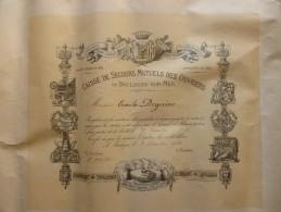 BOULOGNE SUR MER DIPLOME A EMILE DEGUINE 1911 CAISSE DE SECOURS MUTUEL DES OUVRIERS - Documents Historiques