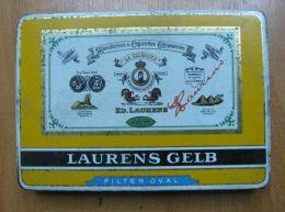 AC - LAURENS GELB # 1 MANUFACTURE DE CIGARETTES EGYPTIENNES EMPTY TIN BOX - Contenitori Di Tabacco (vuoti)