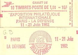 """Carnet 2187-C 2c Liberté De Delacroix """"PHILEXFRANCE 82"""" Conf.5 (hampe Droite) Fermé Bas Prix Parfait état RARE - Usage Courant"""