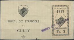 1456 - CULLY Fiskalmarke Auf Abschnitt