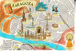 ZARAGOZA.POSTALPLANO CON INDICACION PRINCIPALES MONUMENTOS NO CIRCULADA  1963 - Zaragoza