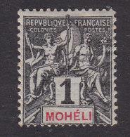 Moheli, Scott #1, Mint Hinged, Navigation And Commerce, Issued 1906 - Mohéli (1906-1912)