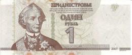 Transnistria P42, 1 Rublei, Gen Alexander Suvorov / Kitskansky Bridgehead, UV - Bankbiljetten