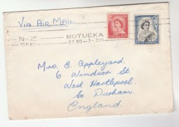 1956 Air Mail Motueka NEW ZEALAND COVER Stamps  1/6  3d To GB - Covers & Documents