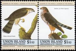 UNUIN ISLAND - Scott #189 Accipiter Striatus & Falco Columbarius / Mint NH Pair Stamps - St.Vincent & Grenadines