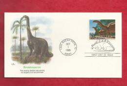 Lettre Des USA De 1989 - FDC - YT N° 1876 - Brontosaure - Stamps