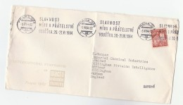 1964 CZECHOSLOVAKIA Stamps COVER SLOGAN Pmk HOUSTKA PEACE FRIENDSHIP FESTIVAL From MOLECULAR CHEMISTRY SYMPOSIUM To GB - Cartas