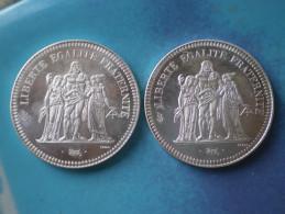 LOT DE 2 PIECES 20 FRANCS HERCULE 1973 ESSAI FAUX FAUSSE COPIE COPY COPIA FALSO FALSHUNG REPRODUCTION - L. 20 Francs