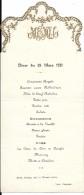 M 19  Menu Du Dîner Du 28 Mars 1921 - Menus