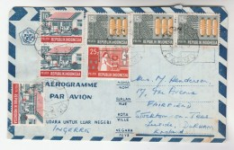 1972 INDONESIA  Aerogramme Franked 7 X  Stamps To GB Cover - Indonesia