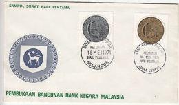 Malaysia: Opening Of Bank Negara Malaysia, FDC, 15 May 1971 - Malaysia (1964-...)