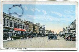 - Kansas - Salina - Santa Fé Avenue, Animation, Olds Cars, Splendide, Pub Woolwotth, Non écrite, BE, Scans. - Salina