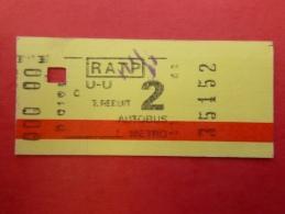 Ticket De Transport Métro Bus RATP Paris French Underground - Other