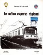 """FRANCE 1975 : Encart 1er Jour N°té (165/399) De 4 Pages."""" LE METRO EXPRESS REGIONAL """" N° YT 1804. Parfait état. FDC - Tramways"""