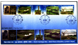BUDDHISM-LUMBINI-BIRTH PLACE OF BUDDHA-FDC-NEPAL-2009-SCARCE-BX1-344 - Buddhism