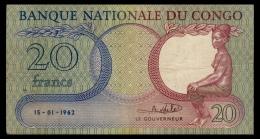 Congo 20 Francs 1962 F+ - Congo