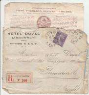 Mont-Saint-Michel 1915 Manche Sur Semeuse - Lettre Avec étiquette De Recommandation ... Et Avec Déchirures - Annullamenti Meccanici (pubblicitari)