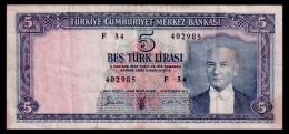 Turkey 5 Lira 1961 VF- - Turquie