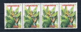 Uganda 2005 Blumen Mi.Nr. 2624 4er Streifen Gestempelt - Ouganda (1962-...)