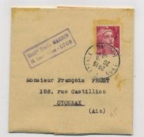 """FRANCE : MARIANNE DE GANDON 3F ROSE N° Yvert 716 SUR """"LETTRE DE COMMANDE"""" DU 20/6/48 LYON TERREAUX - 1945-54 Marianne De Gandon"""