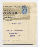 """FRANCE : MARIANNE DE GANDON 4F50 BLEU N° Yvert 718A SUR """"FACTURE"""" DU 21/3/47 BELLEVILLE SUR SAONE - 1945-54 Marianne De Gandon"""