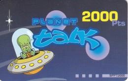 TARJETA DE ESPAÑA DE 2000 PESETAS DE UN MARCIANO EN UNA NAVE ESPACIAL (OVNI) - Espacio